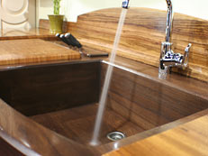 Custom wood sinks created by Grothouse Lumber