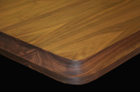 Flat Grain Walnut with Cove Edge and Radius Corner