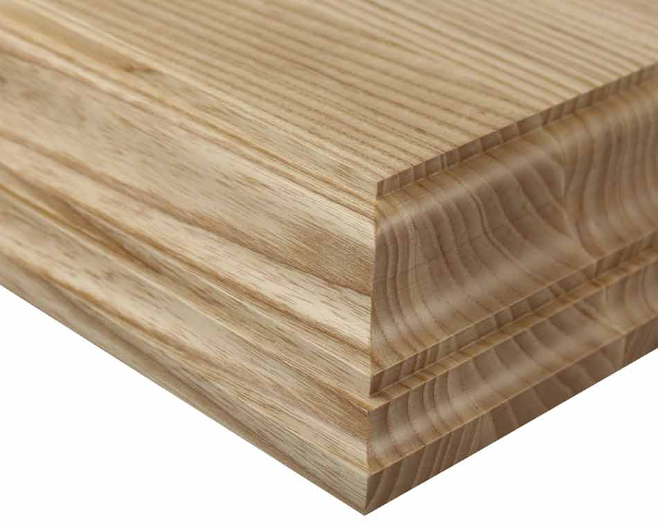 Ash edge grain wood countertop with Charmant edge