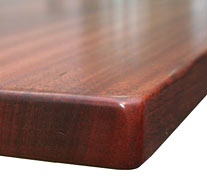 Flat Grain Sapele Mahogany with Quarter Inch Roundover Countertop Edges
