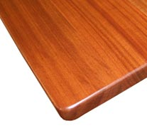 Flat Grain Sapele Mahogany with Three Quarter Inch Roundover Countertop Edges