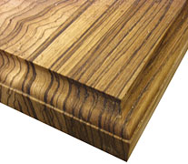 Flat Grain Zebrawood Ogee with Notch Edges