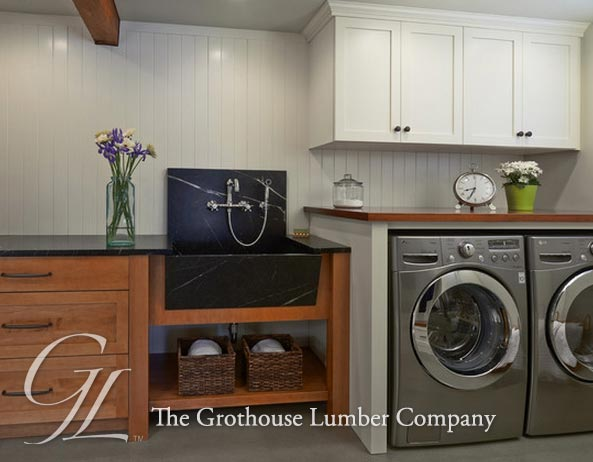 African Mahogany Countertop For A Laundry Room In Washington