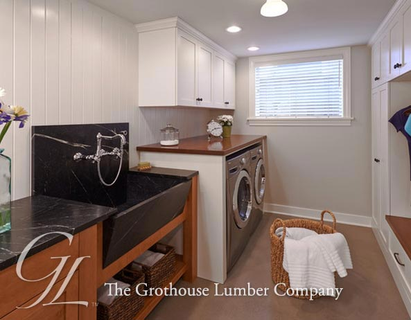 African Mahogany Wood Laundry Room Counter