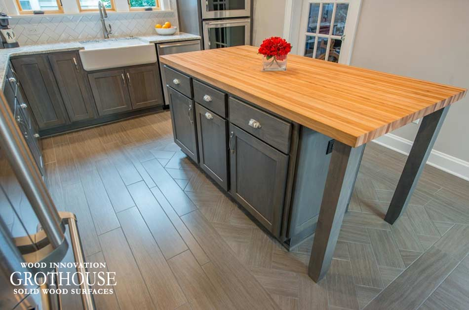 American Beech Wood Countertop for a kitchen island in a gray kitchen located in Columbus, Ohio