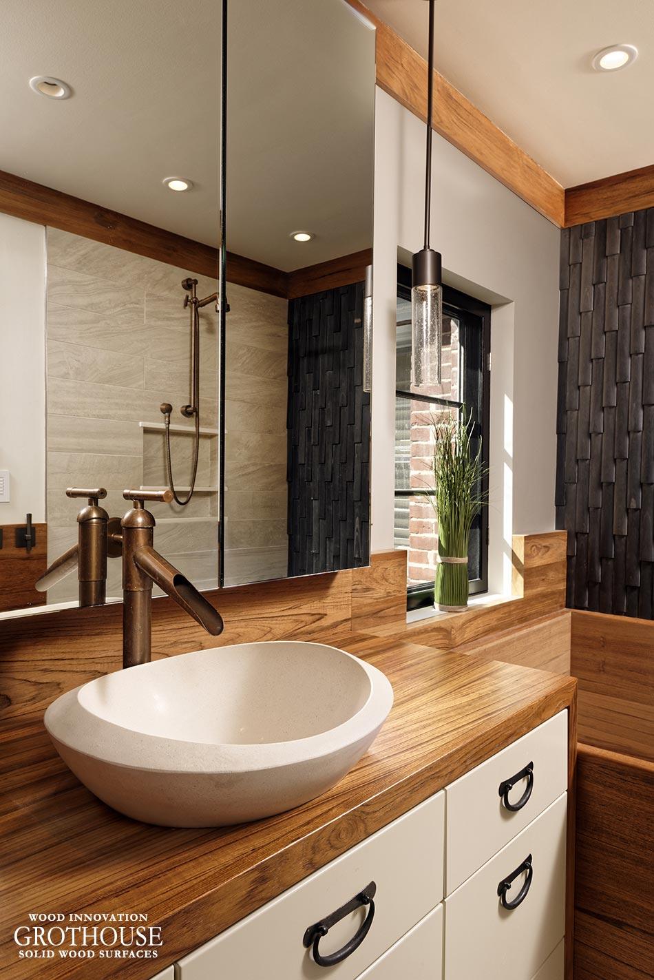Custom teak wood vanity top for a bathroom in washington dc - Custom bathroom countertops with sink ...