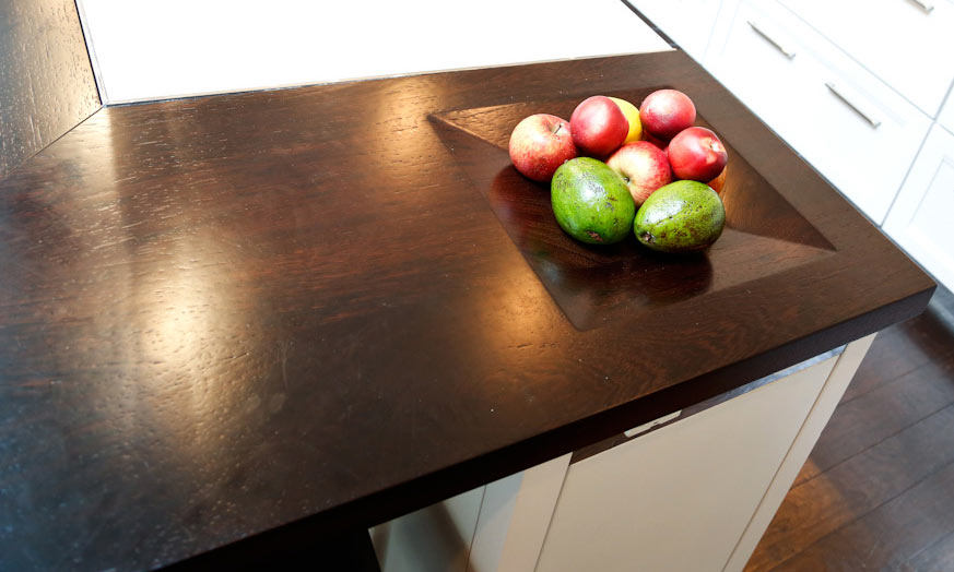 Custom Wenge Wood Countertops with Integrated Fruit Bowl
