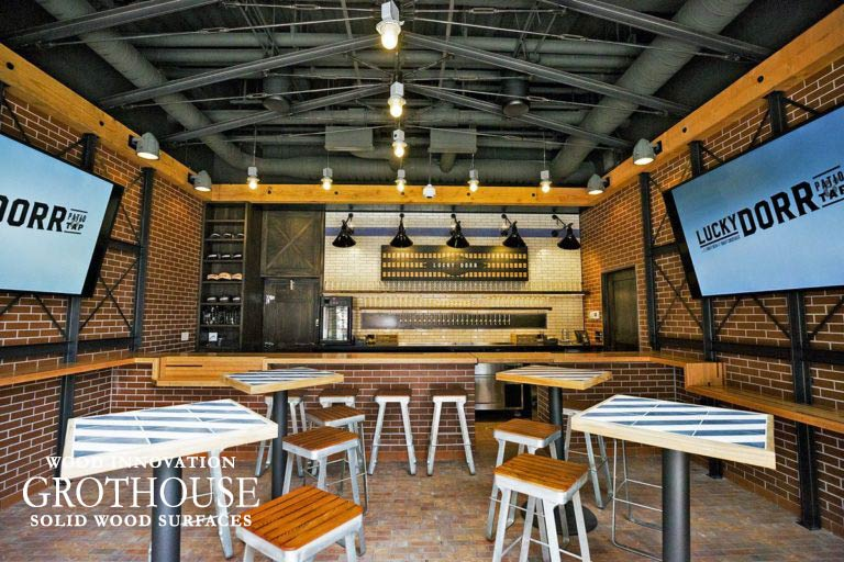 Douglas Fir Wood Bar Top at Lucky Dorr Bar at Wrigley Field in Chicago Illinois