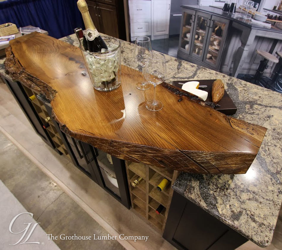 Kitchen Bench Waterfall Edge: Live Edge Wood Countertop Of English Wych Elm In Medina Ohio