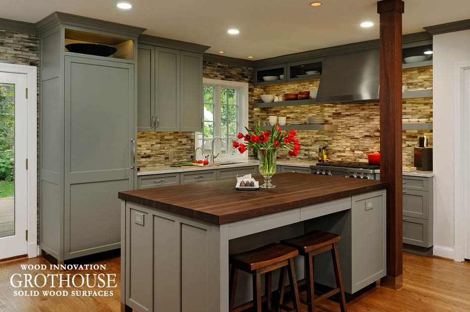 Peruvian Walnut Wood Island Countertop with Grey Cabinetry in Chevy Chase, Maryland