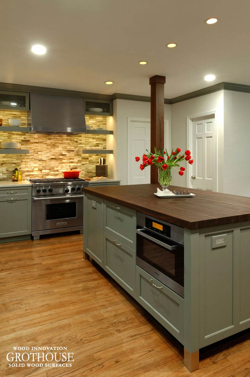 Peruvian Walnut Countertop for a Kitchen Island with Grey Cabinetry in Chevy Chase, Maryland