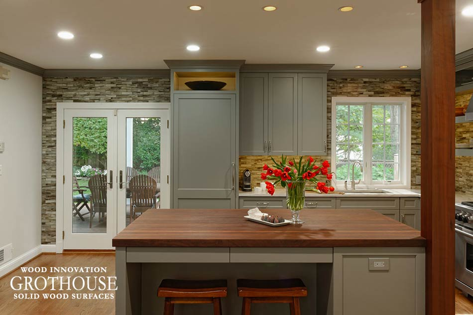 Peruvian Walnut Wood Island Countertop with Two Stools in Chevy Chase, Maryland