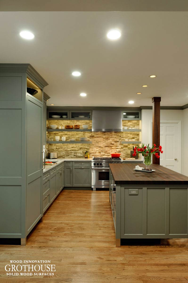 Peruvian Walnut Wood Kitchen Island Countertop In Maryland - Grey cabinets wood countertops