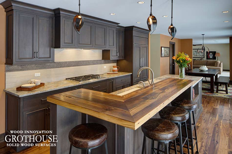 Beau Custom Wood Reclaimed Chestnut Kitchen Bar Top In Kildeer, Illinois