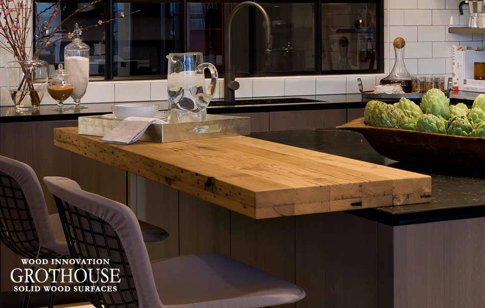 Reclaimed Chestnut Kitchen Island Bar in Virginia