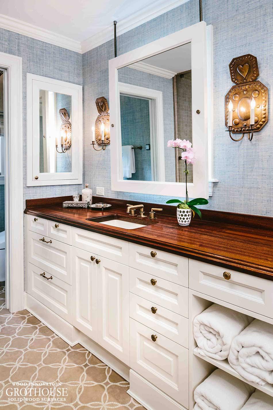 Antiqued Sapele Mahogany Counter In San Antonio TX - Bathroom countertops san antonio