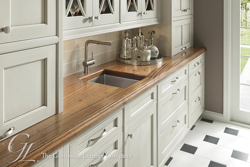 Flat Grain Sapele Mahogany Wood Countertop With Blanco Sink
