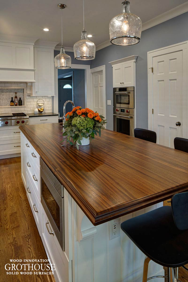 wood kitchen island top distressed sapele mahogany wood countertop in glen ellyn il 1595