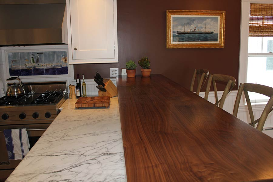 Walnut All Heartwood Wood Counter in Massachusetts
