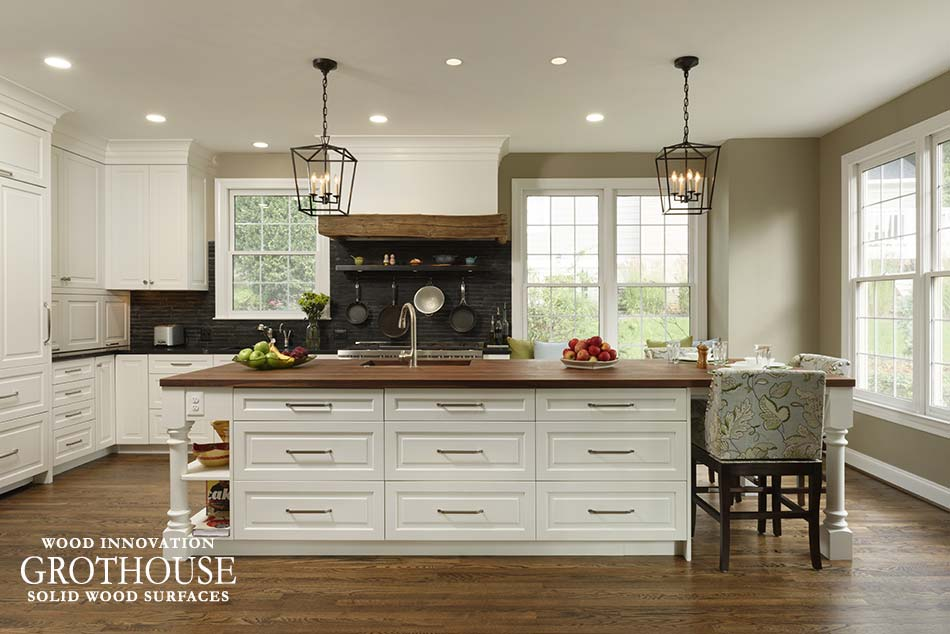 Walnut Wood Kitchen Island Top In Cabin John Md