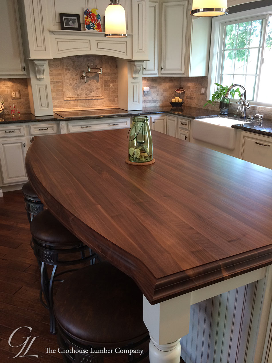 Custom walnut kitchen island countertop in columbia maryland for Kitchen countertops