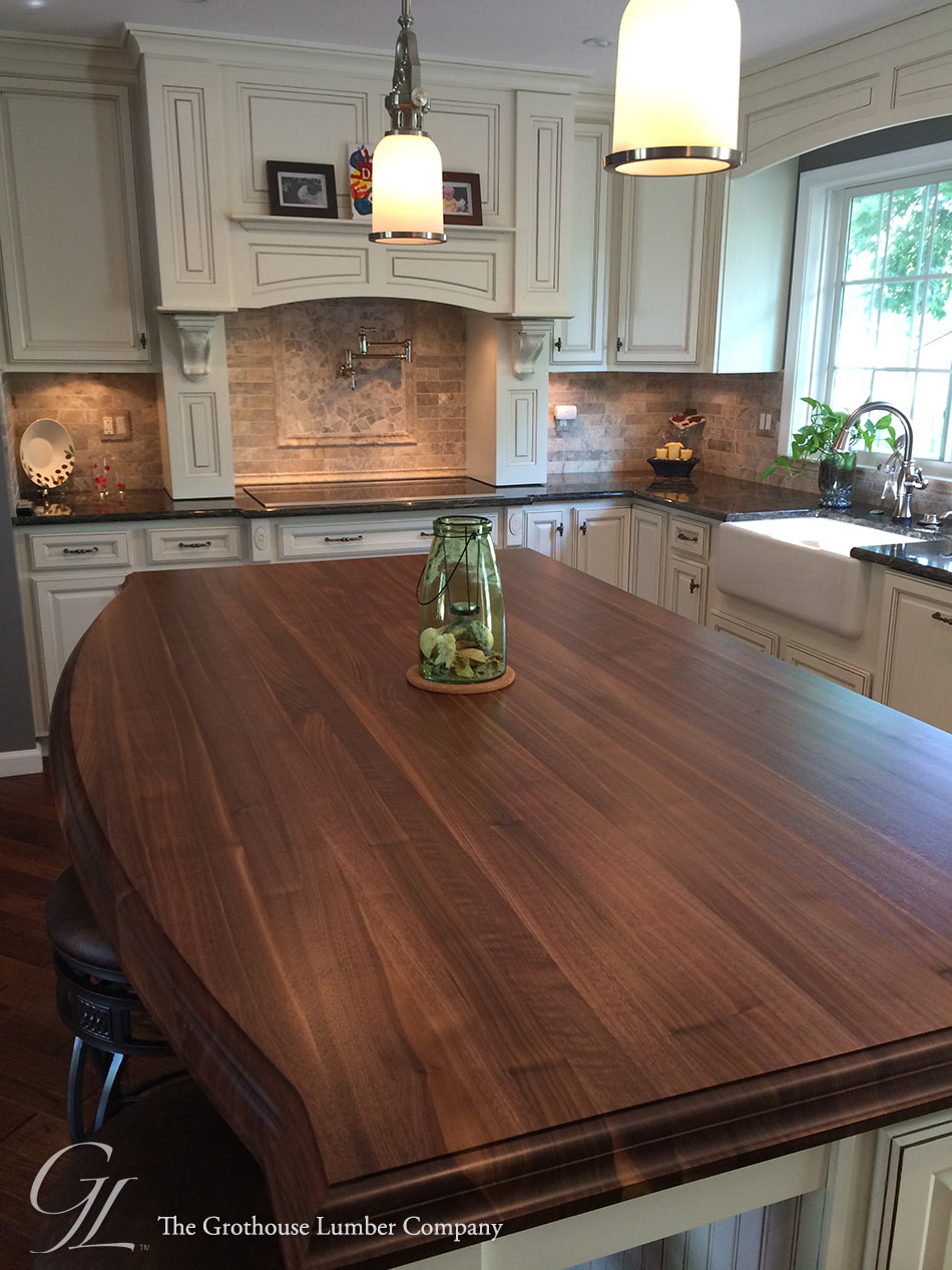 Custom walnut kitchen island countertop in columbia maryland for Images of kitchen countertops