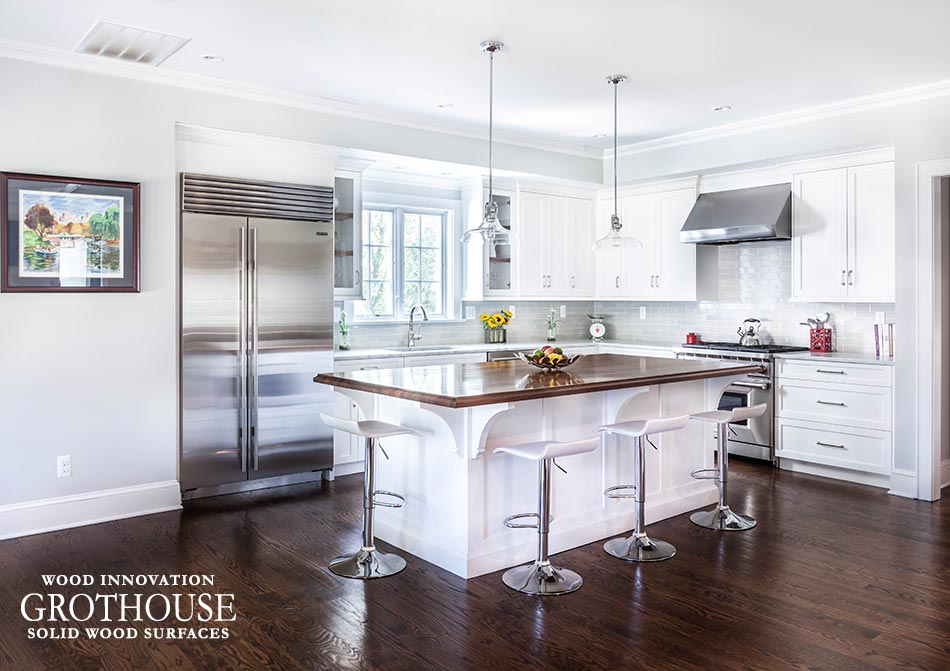Walnut Countertop with White Cabinetry in Madison, NJ