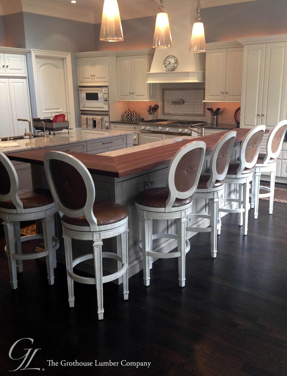 Custom Walnut Wood Raised Kitchen Bar In Ontario