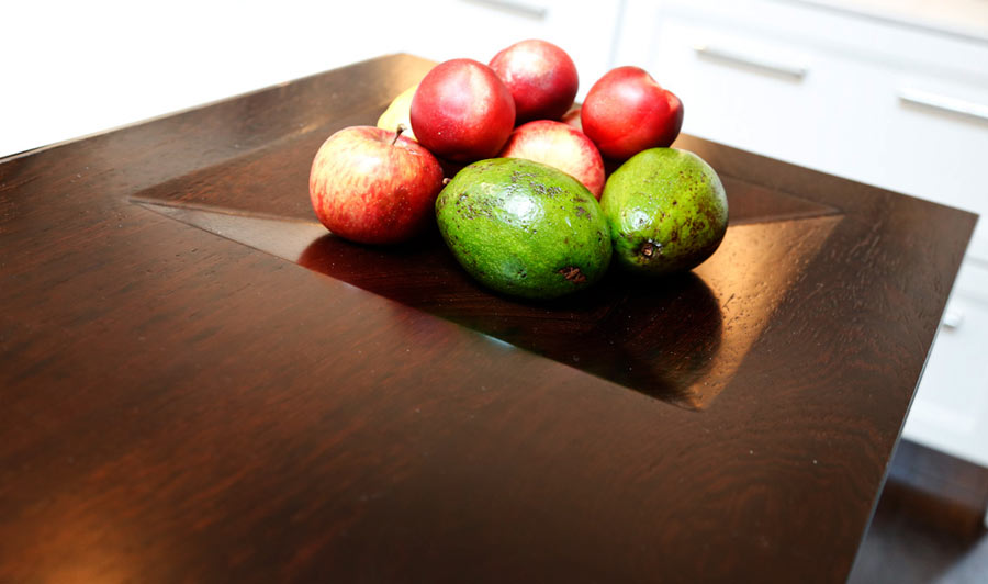 Wenge Wood Countertop with Integrated Fruit Bowl by Grothouse