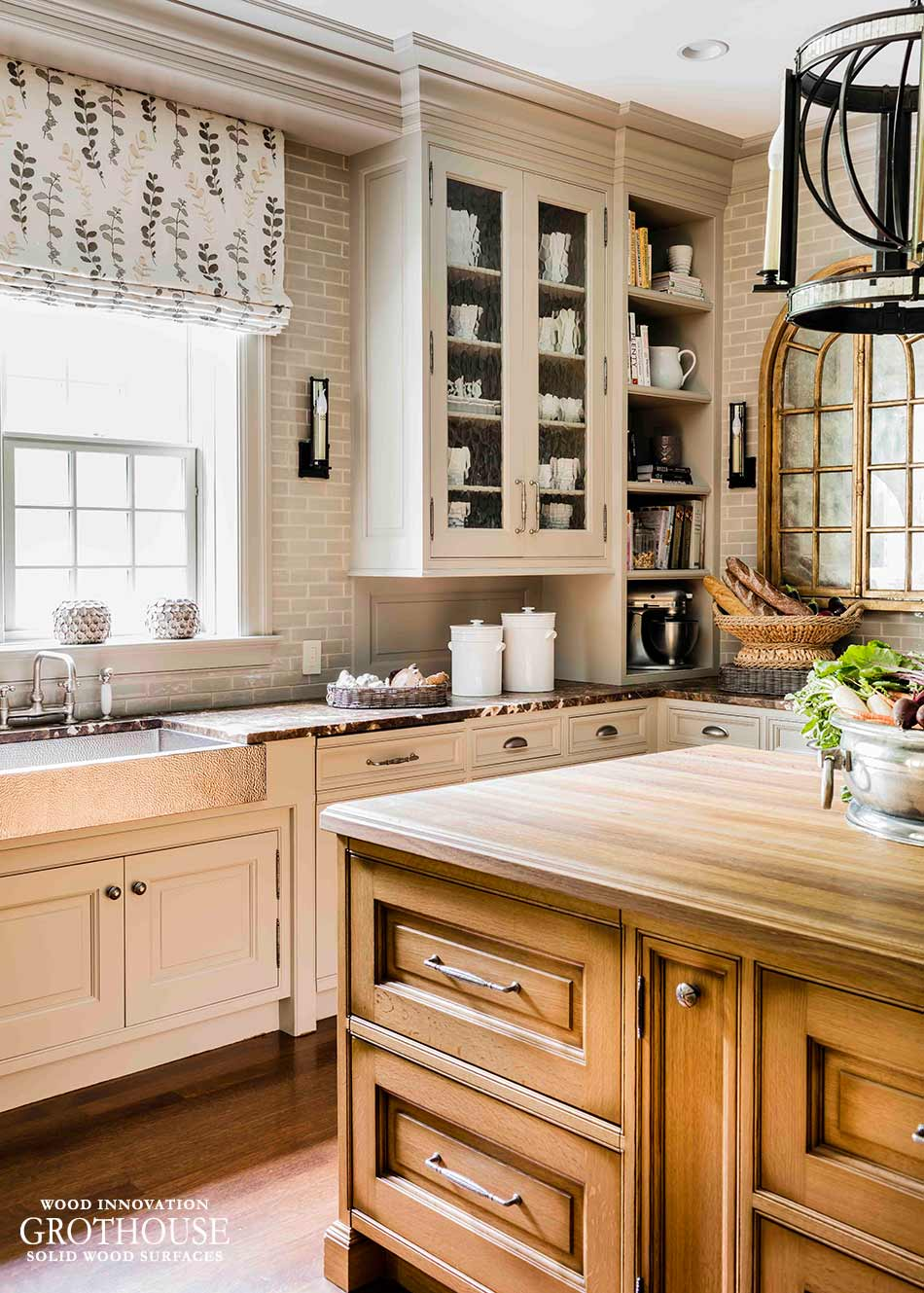 White Oak Kitchen Island Top in Wellesley, MA