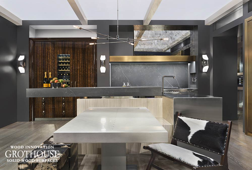 This metal polished kitchen table base was designed for a contemporary kitchen design in Orlando, Florida