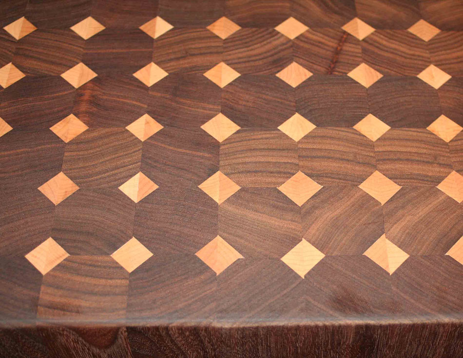Walnut Butcher Block Countertop With Maple Diamond Pattern