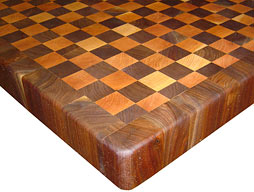 Custom Checkerboard Butcher Block with Walnut Border