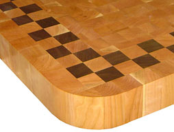 Cherry Butcher Block with Checkerboard Border