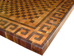 Butcher Block Countertop with Greek Key Pattern