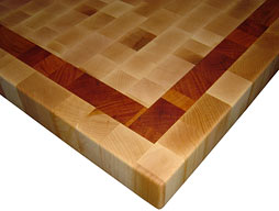 Maple Butcher Block Countertop with Cherry Inlaid Stripe