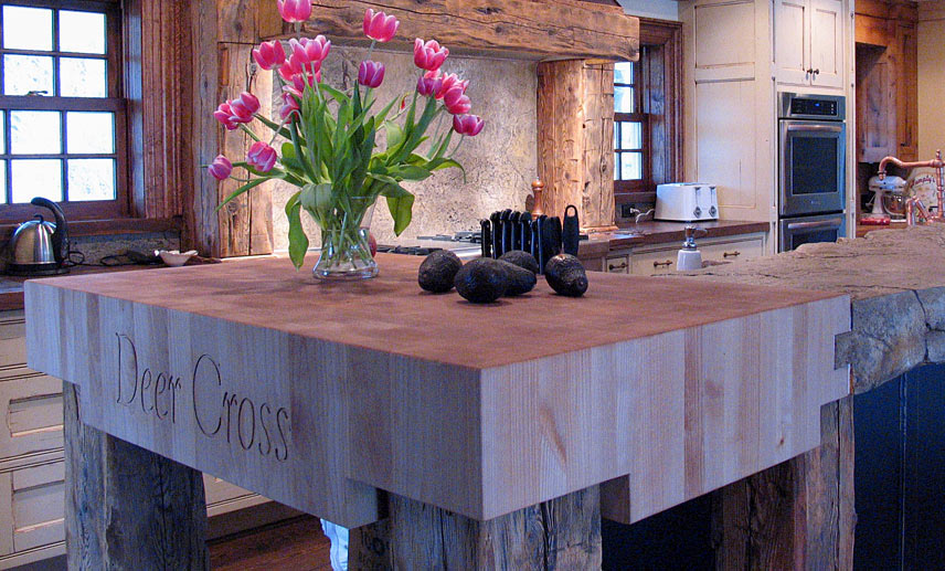 Alder Butcher Block Countertop with Carving
