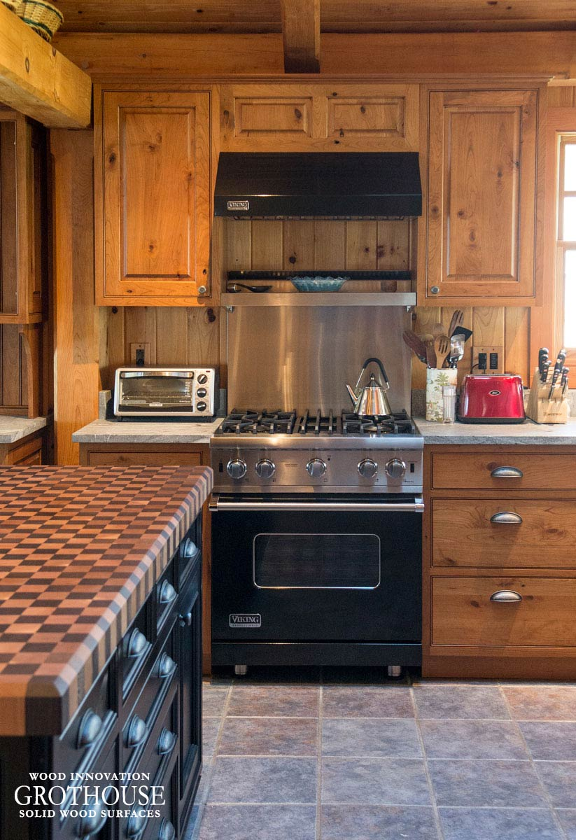 Custom Wood Checkerboard Butcher Block for a rustic kitchen island in Aurora, New York