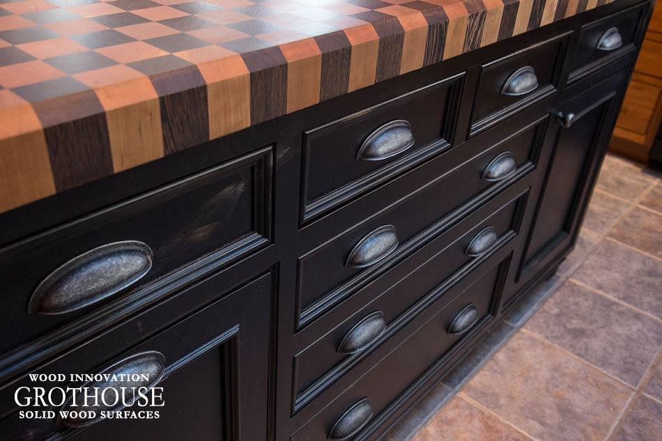 Wood Checkerboard Butcher Block top on a rustic kitchen island in Aurora, New York