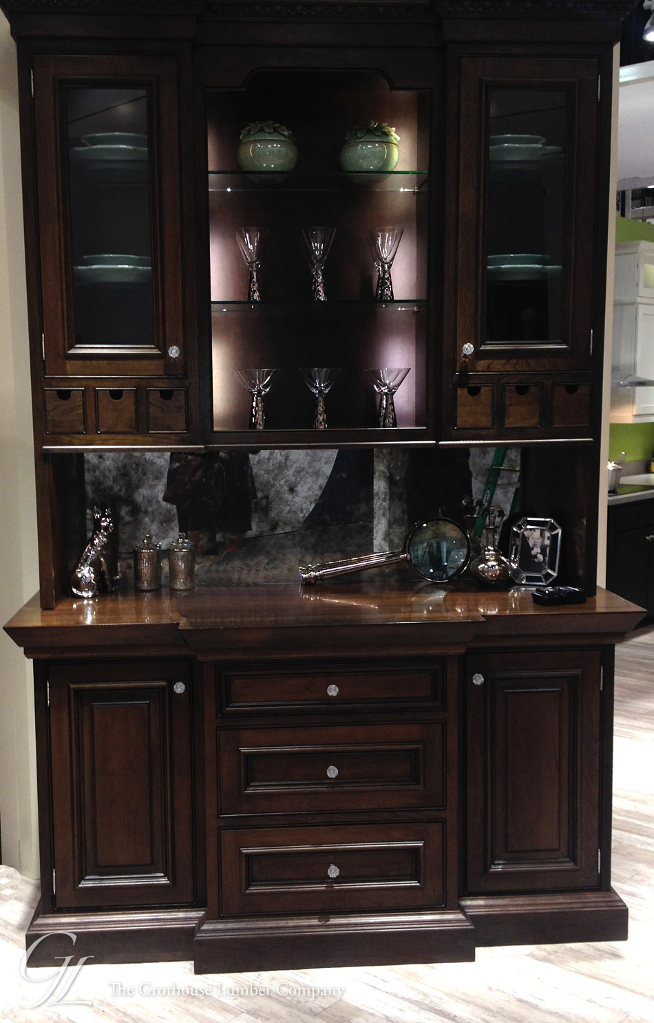 Custom Stained Cherry Countertop in Elkay Booth at KBIS 2014