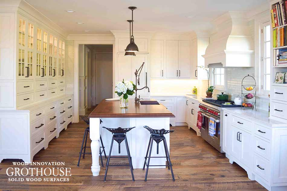Stained Cherry Wood Kitchen Island Top in East Hampton, NY