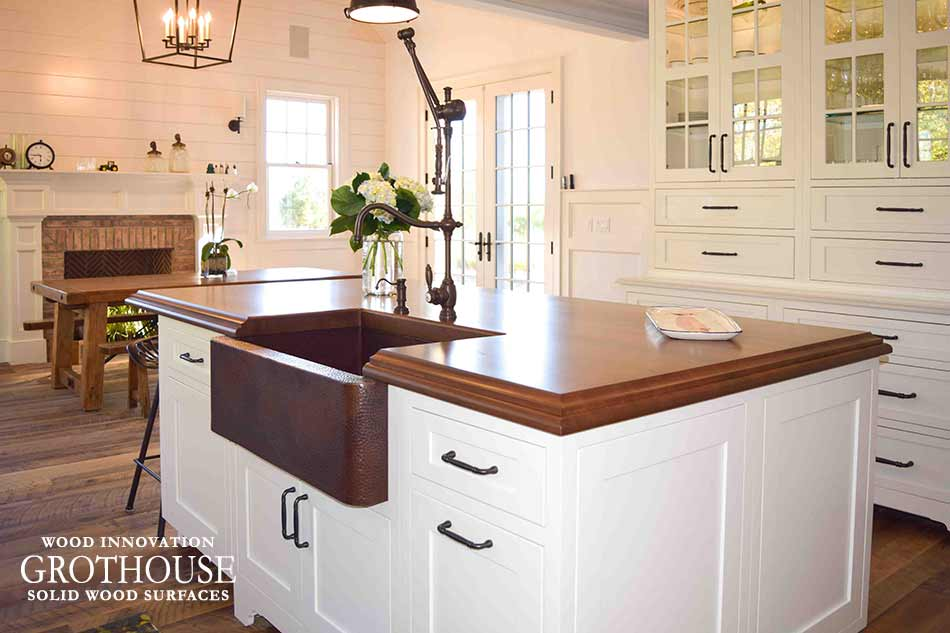 Stained Cherry Wood Kitchen Island Top With Farmhouse Sink