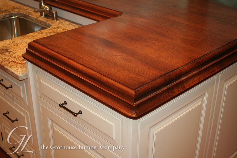 Wood Kitchen Island Countertop. American Cherry Kitchen Island Top In  Pennsylvania