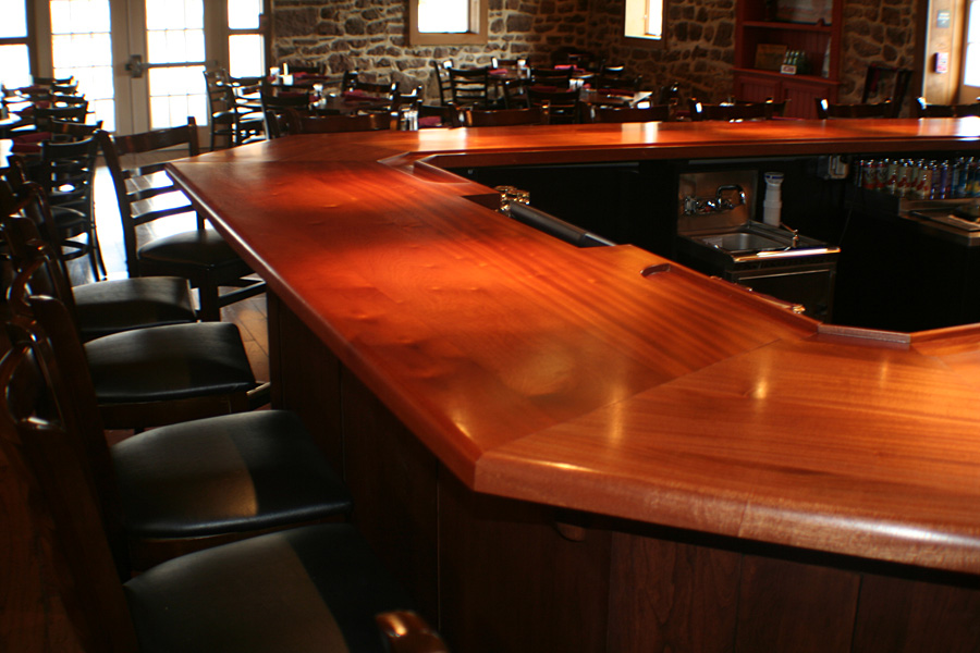 Commercial bar tops of wood for a restaurant cafe or pub for Custom bar top ideas