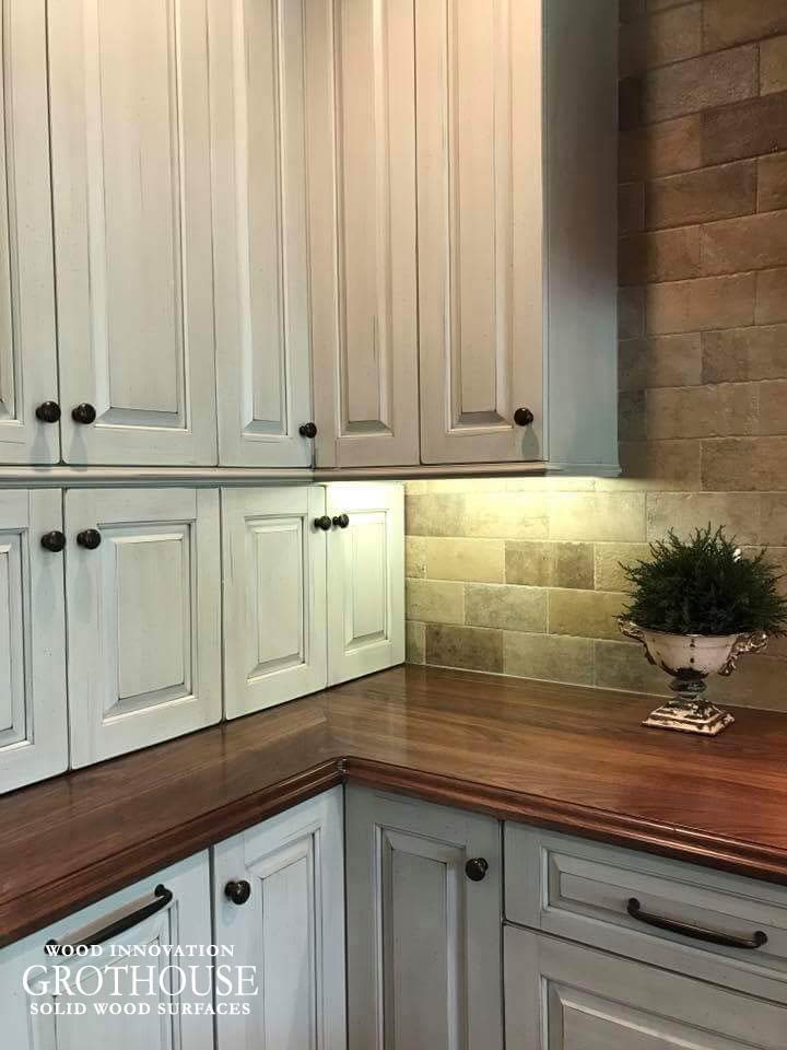 Custom Walnut Wood Counters with Distressing Made at Grothouse Inc. in Germansville, Pennsylvania USA