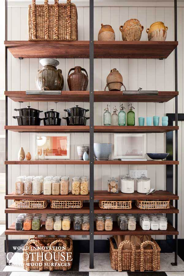These Custom Wood Shelves Were Custom Made for an Open Pantry in San Francisco, California