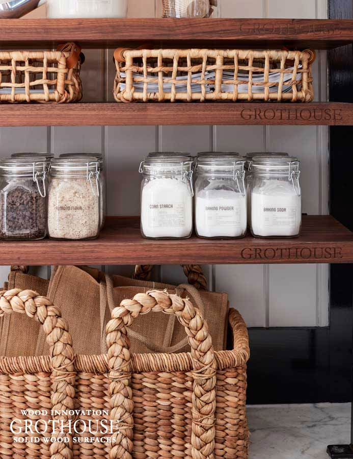 Custom Wood Shelving Provides an Organized Storage Solution for Kitchens and Pantries
