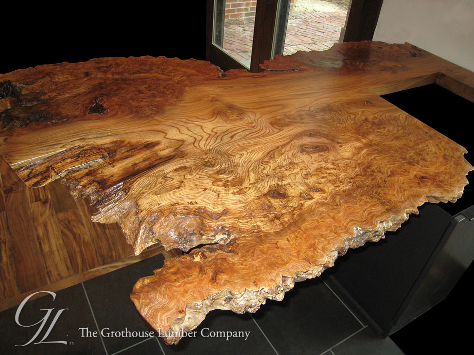 English wych elm live edge wood countertop in wisconsin for Natural edge wood countertops