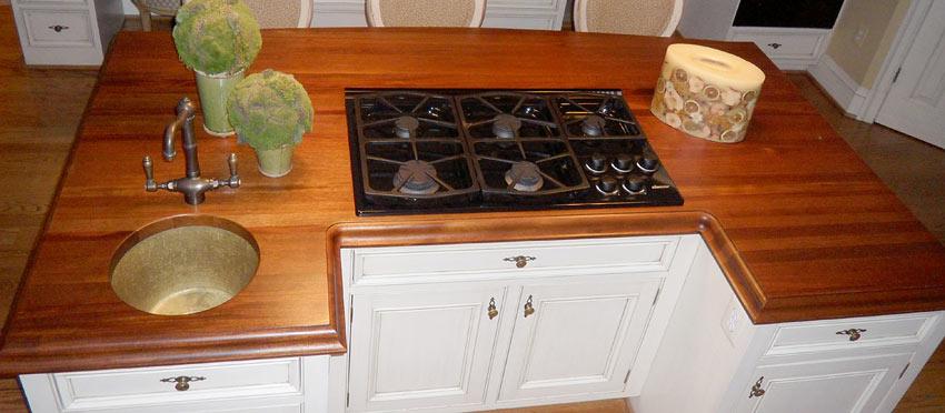Wood Countertop With Stove : Custom Mahogany Wood Countertop with Sink and Stove Insert