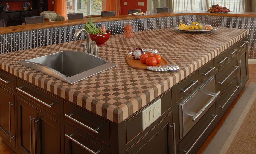 Custom Wood Butcher Block Island Countertops For Kitchens